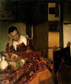 A Woman Asleep 1657 Johannes Vermeer