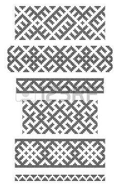 Reihe von nahtlosen geometrischen Grenzen, Stickereien Kreuz photo
