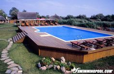 Above Ground Pool with Large Deck Lounge