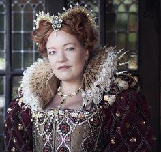 Queen Elizabeth costume ca. 1580 reproduction. Materials: Silk, metal, beads. Costume maker: Angela Mombers