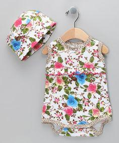 Bam Bam FloralOrganic Bodysuit & Beanie - Infant by Barn Organics