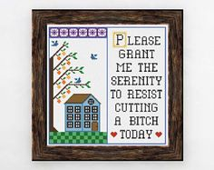 PDF ONLY Please Grant Me the Serenity to Resist Cutting a Bitch Today Modern Subversive Cross Stitch Template Pattern Instant PDF Download