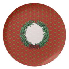 Vintage Red & Green Ribbon Bow Christmas Wreath Plates