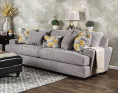 Shop for Furniture of America Audellie Contemporary Grey Fabric Sofa. Get free… Sofa Upholstery, Upholstered Sofa, Fabric Sofa, Grey Fabric, Deep Sofa, Sofa Material, Contemporary Sofa, New Furniture, Living Spaces