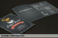 Diseño de la carta de menú de la cafetería COFFEE HOUSE
