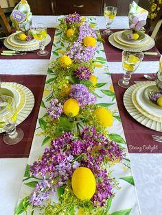 Yellow Dinner Plates, Green Plates, Decoration Table, Table Centerpieces, Purple Placemats, Lemon Party, Lemon Kitchen, Beautiful Table Settings, Appetizer Plates