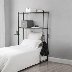 "Latitude Run Nordland 85.9"" H x 41.8"" W Over Bed Shelving Unit   Wayfair Dorm Room Storage, Bed Storage, Storage Spaces, College Organization, Storage Rack, Dorm Room Bedding, Twin Xl Bedding, Dorm Rooms, College Comforter"
