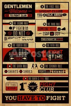 Fight Club Rules Infographic Cult Classic Drama Movie Film Poster Print 24 by 36 Fight Club Quotes, Rules Of Fight Club, Hard Movie, Fight Club 1999, E Newspaper, Rule Of Three, Club Poster, Drum Lessons, Life Lessons
