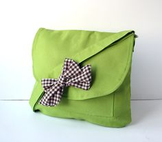 Apple Green Cotton Fabric Messenger  Bag  Brown and by ZeroBags, $34.00