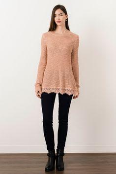 Suzy Shier Mock Neck Sweater With Lace Hem