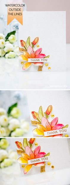 Dont be afraid to color outside the lines! Create this Thank You card with the help of stamps and dies from Altenew (Magnolias For Her) and Daniel Smith Watercolors. For details and video tutorial, visit http://www.yanasmakula.com/?p=53457