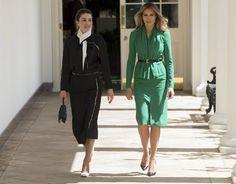 First Lady Melania Trump and Queen Rania of Jordan at the White House Royal Fashion, Star Fashion, Womens Fashion, Work Fashion, Queen Rania, First Lady Melania Trump, Mode Style, Business Fashion, Vanity Fair