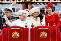 The Duke of Edinburgh, Queen Elizabeth II, Camilla Duchess of Cornwall and Catherine Duchess of Cambridge during the Queen's 2012 Diamond Jubilee Celebrations.