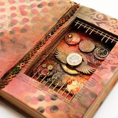 Altered book with coins.