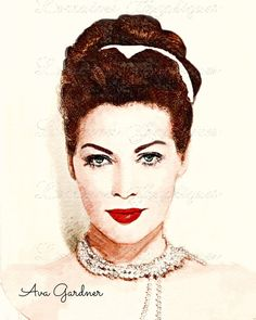 Ava Gardner:  A Mixed Media Fine Art Print, Portrait of Audrey Hepburn, Classic Hollywood Home Decor