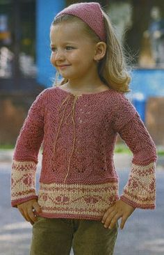 knitted tunic for little girl @Af's 28/2/13 вязание спицами платок и пуловер