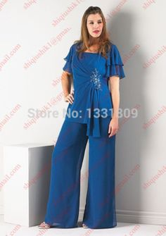 Blue pleat Beaded Crystal Mother of the bride pant suits with short sleeve plus size 3 pc Chiffon mother of bride Gown outfits