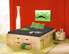 Funktionsbett 140x200cm Maße & Materialien    209 x 146,3 x 47,5 cm    Funktionsbett; Massivholz; natur lackiert    Inklusive Lattenrost    Matratzengröße 140 x 200 cm
