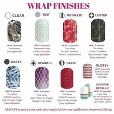 Wrap finishes and heating times. Visit oliviazamudio.jamberry.com to shop…