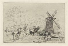 Johan Barthold Jongkind | Landschap met molens en schaatsers, Johan Barthold Jongkind, A. Salmon, 1868 | Schaatsenrijders op het ijs van een vaart, waaraan een molen staat. In de verte nog enkele molens.