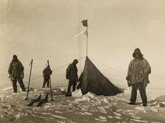 British polar team find Amundsen's tent - Left to right: Robert Falcon Scott, Lawrence Oates, Edward Adrian Wilson and Edgar Evans
