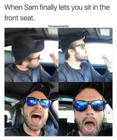 This is legit how I felt when my mom told me I finally fit height and weight requirements to legally be able to sit in the front seat, so I could take it from my brother when I got picked up from school first. Funny Marvel Memes, Marvel Jokes, Marvel Dc Comics, Marvel Avengers, Sebastian Stan, Anthony Mackie, Raining Men, Bucky Barnes, Winter Soldier