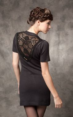 Assymetrical crochet back sweater dress in black