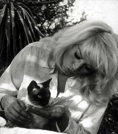 Anita Ekberg and siamese cat. Seems like siamese cats was a thing with actors…
