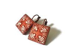 Clay Portuguese tile earrings azulejo earrings unique by XTory