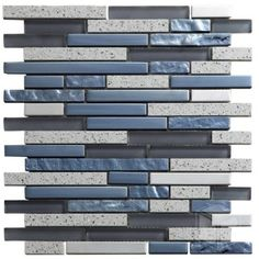 Quartz Grey Strip Pattern Glass and Marble Mosaic Tile #strip_pattern_mosaic_tile #glass_marble_mosaic_tile