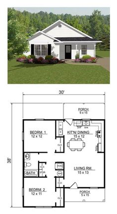 Open concept, two bedroom small house plan. [Other examples at this link] Open concept, two bedroom small house plan. [Other examples at this link] Image. Two Bedroom Floor Plan, 2 Bedroom House Plans, Two Bedroom Tiny House, Little House Plans, Small House Floor Plans, Small Modern House Plans, Open Concept House Plans, Square House Plans, Bungalow Floor Plans