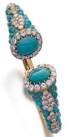 Cartier - Bracelet 'Ouvrant' - Or, Diamants et Turquoises - Vers 1960
