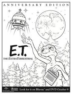 Et Coloring Pages Super Coloring Pages, Printable Coloring Pages, Colouring Pages, Et The Extra Terrestrial, Harry Birthday, Movie Crafts, Pony Wall, Movie Party, Colorful Party