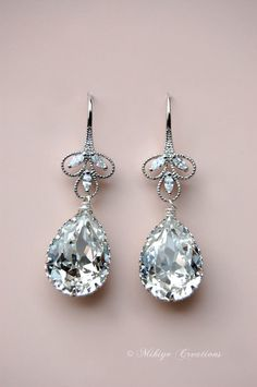 Bridal Chandelier Swarovski Earrings by Mikiye Creations