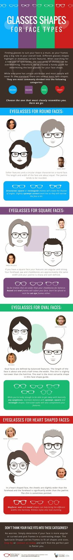 Everyone's face has a slightly different shape, but in general face shapes fall into four main categories. Depending on your face shape, certain glasses shapes will look better than others. We've come up with this handy infographic to help you decide Glasses Trends, Glasses For Your Face Shape, Image Blog, Cool Curtains, Buy Sunglasses, Glasses Frames, Face Shapes, Face And Body, Eyeglasses