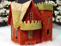 Coconut Mica Cardboard House for Village or Christmas Putz Scene - 1910s