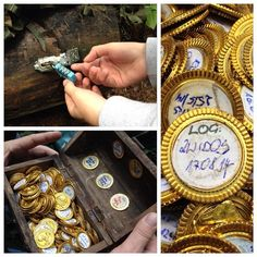 It's what's on the inside! Instead of putting a log book in your cache, fill it with plastic gold coins, and put a round paper sticker on the back of each. Finders sign a piece of gold as their log entry. To make it more fun, I've seen boxes like little treasure chests at the Dollar Store (probably for jewelry). Hide it inside a waterproof container to keep it dry.