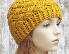 Mustard Yellow Lacy Crochet Beanie Style Hat With por more2adore