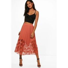 Boohoo Anabelle Pleated Lace Hem Midi Skirt ($13) ❤ liked on Polyvore featuring skirts, maxi circle skirt, maxi skirts, lace mini skirt, mini skirt and lace maxi skirts
