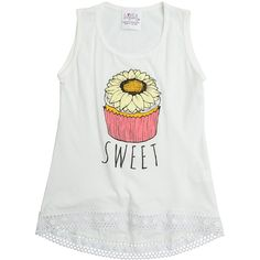 Love And Sunflowers Love & Sunflowers Cupcake Tank Top ($33) ❤ liked on Polyvore featuring tops, white, cotton tank, graphic tops, sunflower top, graphic tank tops and white crochet tank top