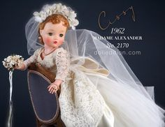 Cissy 1962 Bride No. elaborately dressed in beige lace over white-pleated tulle with bracelet length sleeves, and a scalloped hemline. Old Dolls, Antique Dolls, Vintage Dolls, Vintage Madame Alexander Dolls, Doll Display, Bride Dolls, Doll Costume, Beautiful Dolls, Marie