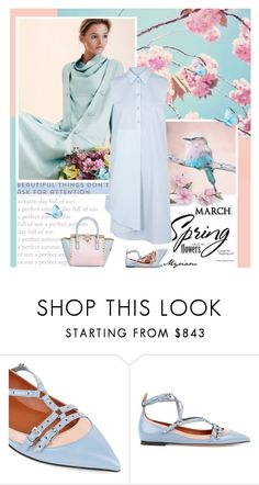 """""""Here is the spring that knocks on our door"""" by lovemeforthelife-myriam-mimi ❤ liked on Polyvore featuring Valentino, Cotton Candy and MM6 Maison Margiela"""