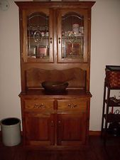 Antique Amish Built Unfinished Reclaimed Barn Wood Corner Cabinet W/open Hutch