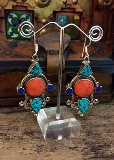 Gypsy earrings - Tibetan Handmade Earrings  - Stone earrings - Oriental earrings - Tribal jewelry by Omanie on Etsy