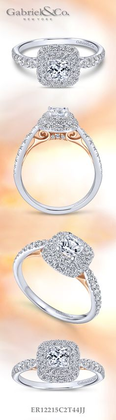 Gabriel & Co. - Voted #1 Most Preferred Bridal Brand. A mixed metal White Gold/Pink Gold Cushion Cut Halo Engagement Ring.