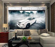 Car drift Photo mural wallpaper 3d stereoscopic floor luxury PVC wallpaper custom non-slip Self-adhesive murals floor(China (Mainland))