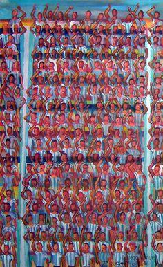 """""""La hinchada está cantando"""", acrílico sobre lienzo, 40 x 62 cm. , 2016.. by Diego Manuel"""