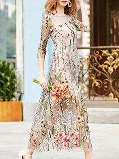 Apricot Maxi Dress Daytime 3/4 Sleeve Embroidered Dress