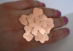 Ready To Ship, Giant Copper Flower Ring, Huge RIng, Giant Metal Ring, Flower Silhouette RIng, Silver and Copper, Statement Ring, Mixed Metal