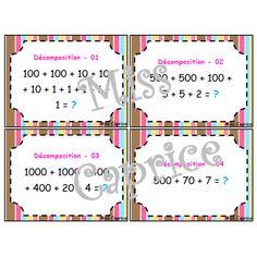 Décomposition de nombres - Cartes à tâches French Resources, Numeracy, Bullet Journal, Teaching, School, Compost, Names, Calculus, Cards
